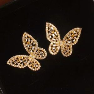 Gold Tone Crystals Butterfly 🦋 Earrings